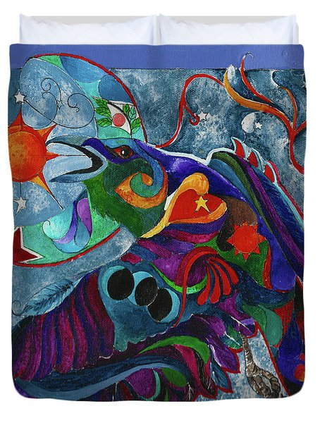 Spirit Raven Totem Duvet Cover