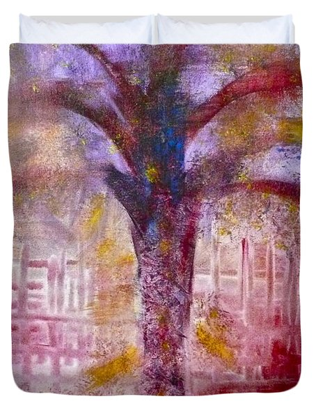 Duvet Cover featuring the painting Spirit Tree by Claire Bull