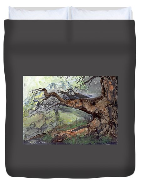 Duvet Cover featuring the painting Spirit Tree by Sherry Shipley