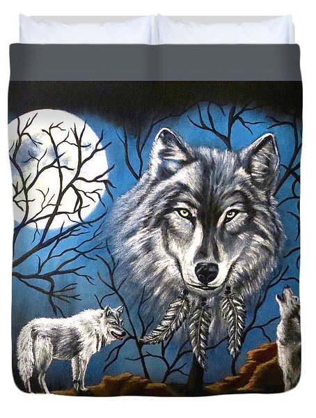 Duvet Cover featuring the painting Spirit Wolf by Teresa Wing