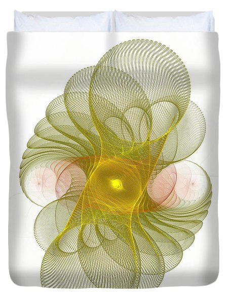 Duvet Cover featuring the digital art Spiro-girations by Richard Ortolano