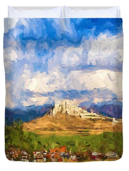 Castle Above The Village Duvet Cover