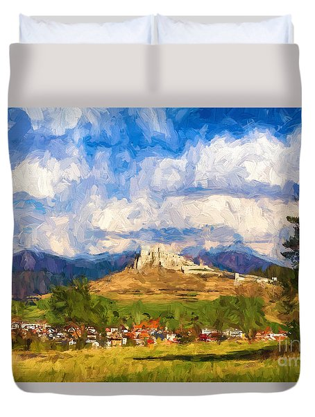 Castle Above The Village Duvet Cover