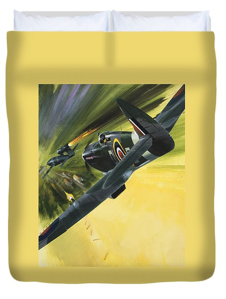 Spitfire And Doodle Bug Duvet Cover by Wilf Hardy