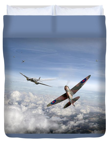 Duvet Cover featuring the photograph Spitfire Attacking Heinkel Bomber by Gary Eason