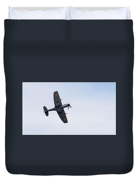 Duvet Cover featuring the photograph Spitfire From Below Sunderland Air Show 2014 by Scott Lyons
