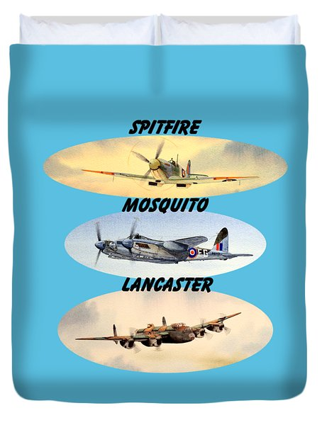 Spitfire Mosquito Lancaster Aircraft With Name Banners Duvet Cover by Bill Holkham