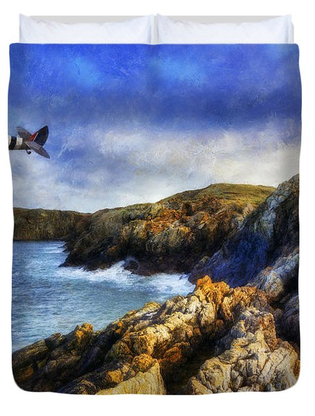 Spitfire On The Coast Duvet Cover