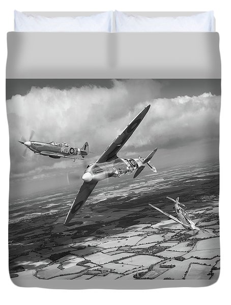 Duvet Cover featuring the photograph Spitfire Tr 9 Fighter Affiliation Bw Version by Gary Eason