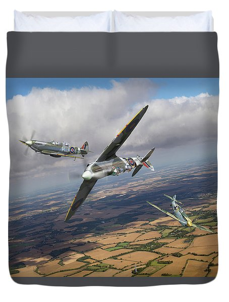 Duvet Cover featuring the photograph Spitfire Tr 9 Fighter Affiliation by Gary Eason