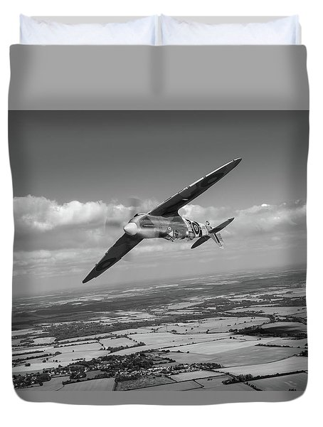 Duvet Cover featuring the photograph Spitfire Tr 9 On A Roll Bw Version by Gary Eason