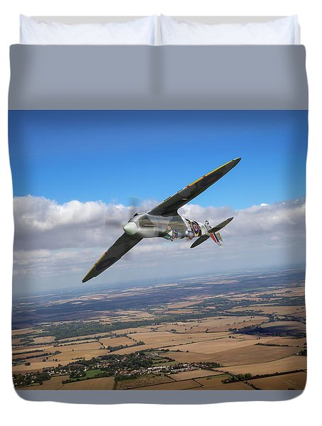 Duvet Cover featuring the photograph Spitfire Tr 9 On A Roll by Gary Eason