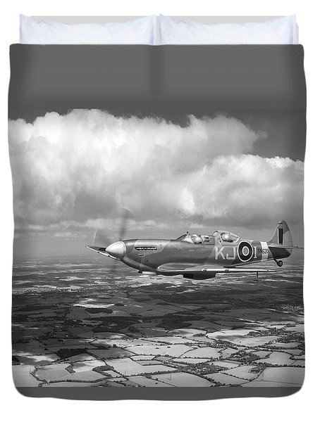 Duvet Cover featuring the photograph Spitfire Tr 9 Sm520 Bw Version by Gary Eason