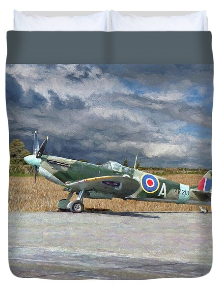 Spitfire Under Storm Clouds Duvet Cover