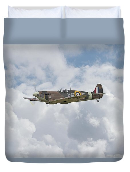 Duvet Cover featuring the digital art  Spitfire - Us Eagle Squadron by Pat Speirs