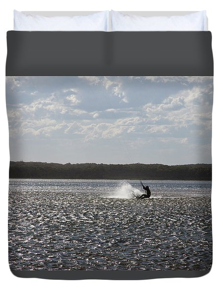 Duvet Cover featuring the photograph Splash At Lake Wollumboola by Miroslava Jurcik