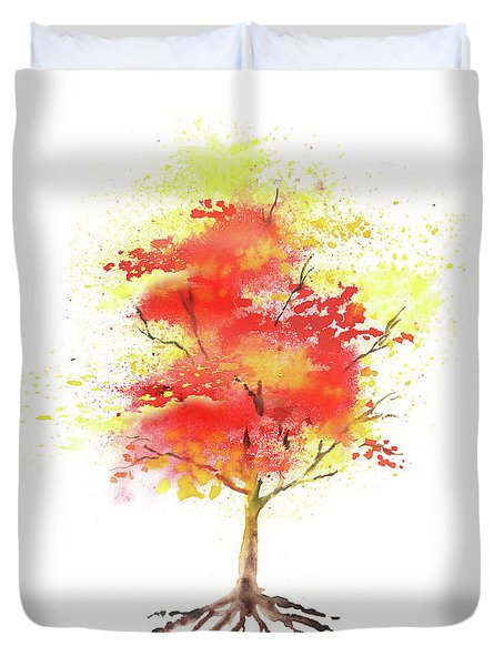 Duvet Cover featuring the painting Splash Of Autumn Watercolor Tree by Irina Sztukowski
