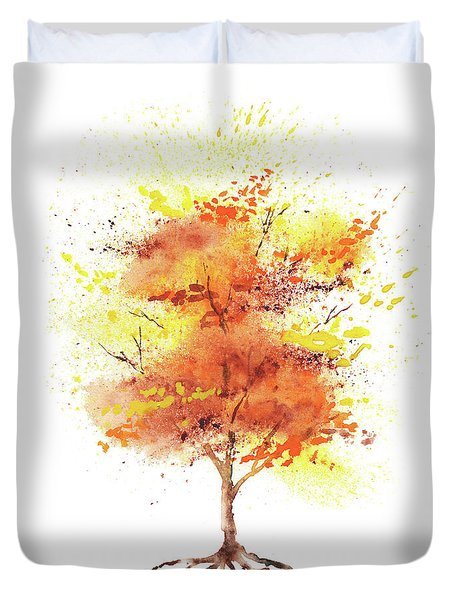 Duvet Cover featuring the painting Splash Of Fall Watercolor Tree by Irina Sztukowski
