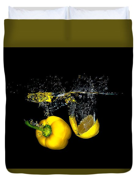 Splash Of  Pepper And Lemon Duvet Cover