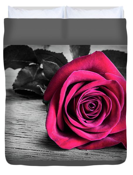 Splash Of Red Rose Duvet Cover