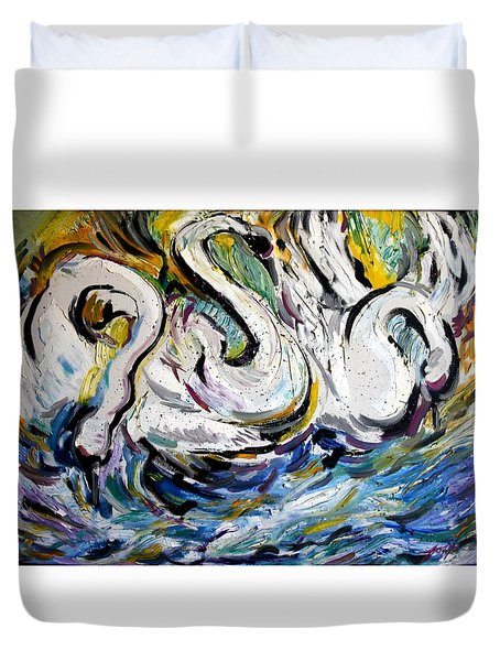 Splashing Swans Duvet Cover by Lord Toph