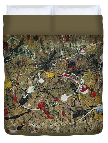 Duvet Cover featuring the painting Splattered by Jacqueline Athmann