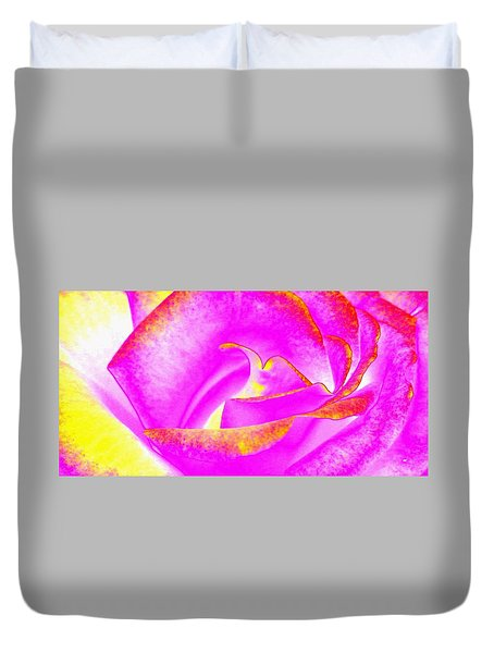 Duvet Cover featuring the mixed media Splendid Rose Abstract by Will Borden