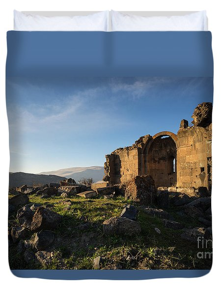 Splendid Ruins Of St. Grigor Church In Karashamb, Armenia Duvet Cover