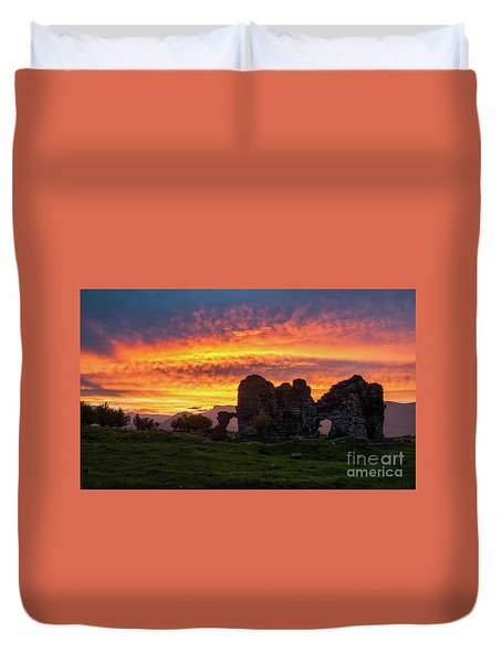Splendid Ruins Of Tormak Church During Gorgeous Sunset, Armenia Duvet Cover