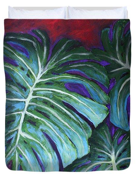 Split Leaf Philodendron Duvet Cover