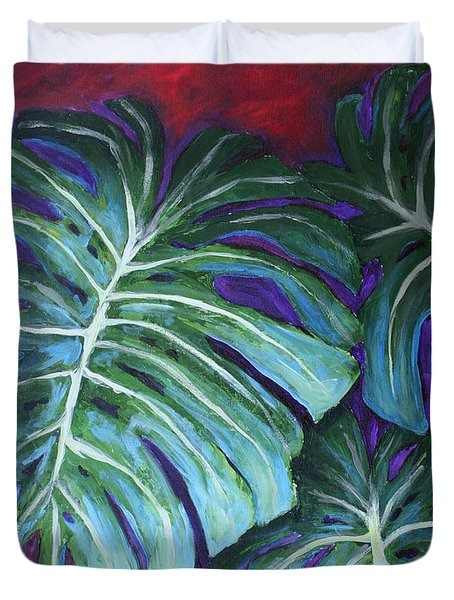 Split Leaf Philodendron Duvet Cover by Phyllis Howard