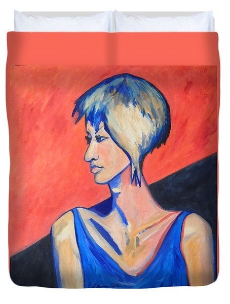 Duvet Cover featuring the painting Split Personality by Esther Newman-Cohen