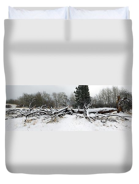 Duvet Cover featuring the photograph Split Personality - Panorama by Shane Bechler