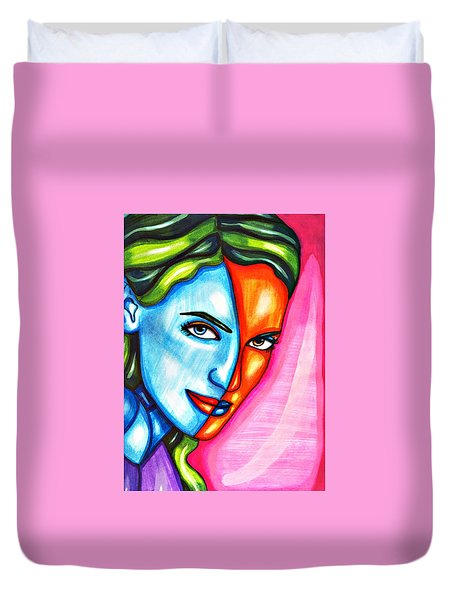 Split Personality Woman Abstract Drawing Duvet Cover