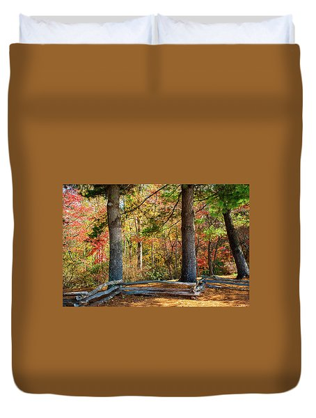 Split Rail Fence And Autumn Leaves Duvet Cover