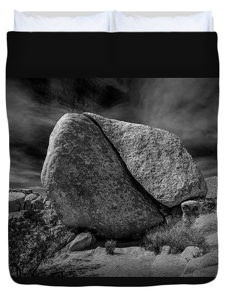 Duvet Cover featuring the photograph Split Rock In Black And White At Joshua Tree National Park by Randall Nyhof