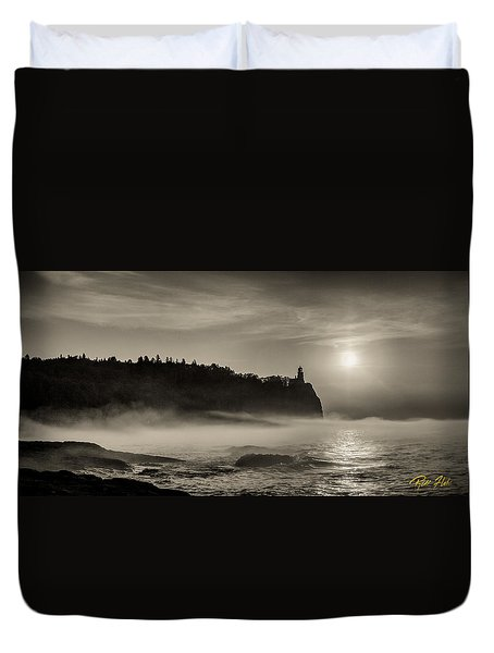 Split Rock Lighthouse Emerging Fog Duvet Cover by Rikk Flohr