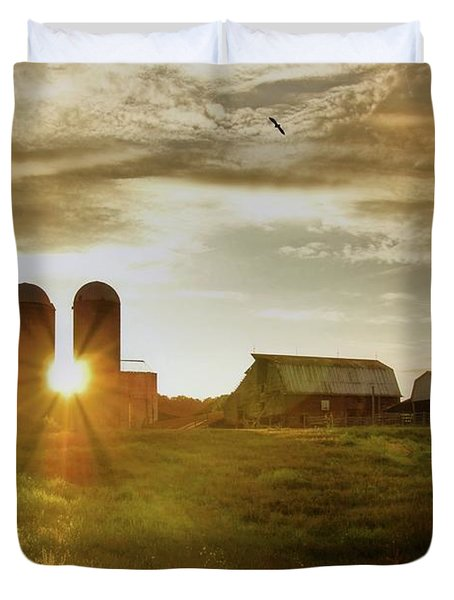 Split Silo Sunset Duvet Cover
