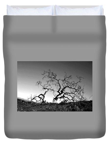 Split Single Tree On Hillside - Black And White Duvet Cover