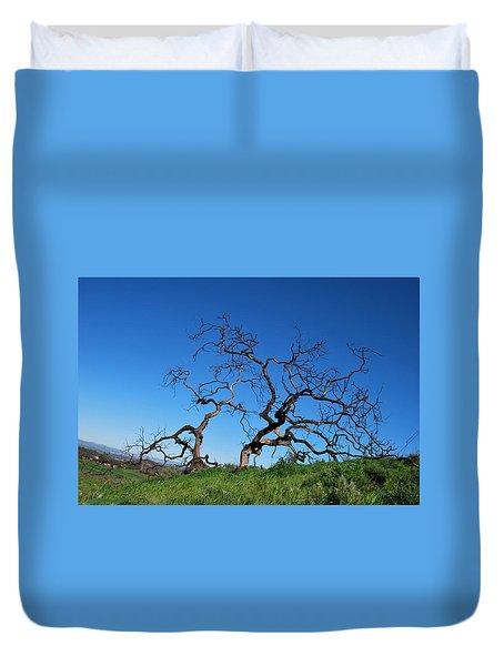 Split Single Tree On Hillside Duvet Cover