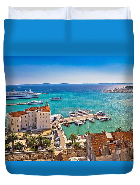 Split Waterfront And Harboar Aerial View Duvet Cover by Brch Photography
