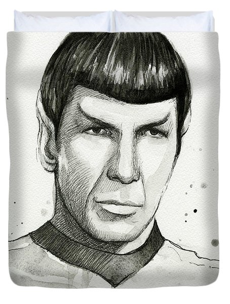 Spock Watercolor Portrait Duvet Cover