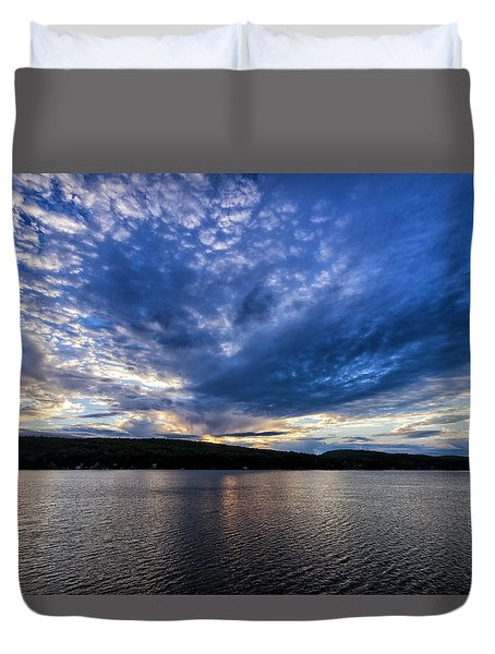 Duvet Cover featuring the photograph Spofford Lake Sunrise by Tom Singleton