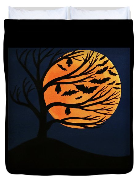 Spooky Bat Tree Duvet Cover