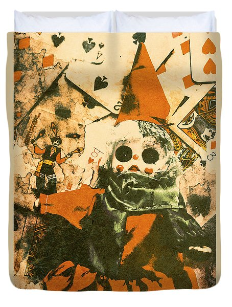 Spooky Carnival Clown Doll Duvet Cover