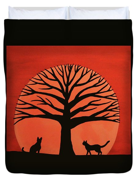 Spooky Cat Tree Duvet Cover