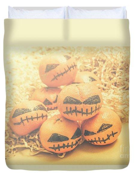 Spooky Halloween Oranges Duvet Cover