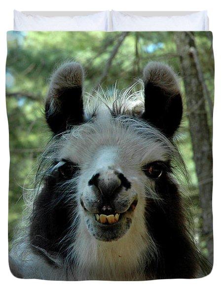 Duvet Cover featuring the photograph Spooky Llama by LeeAnn McLaneGoetz McLaneGoetzStudioLLCcom