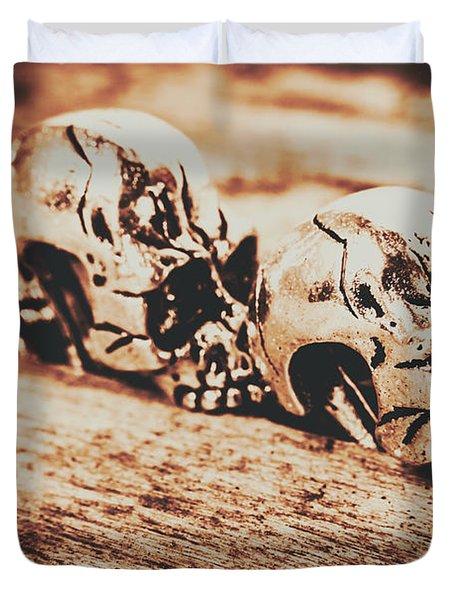 Spooky Skeleton Craniums  Duvet Cover