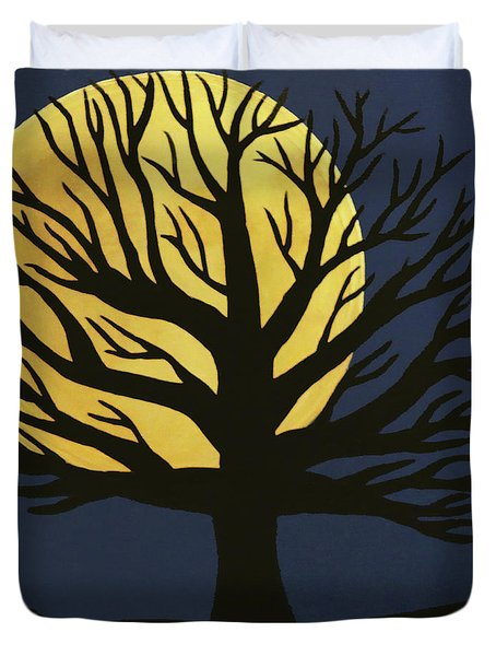 Spooky Tree Yellow Duvet Cover